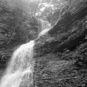 017-waterfall-bw